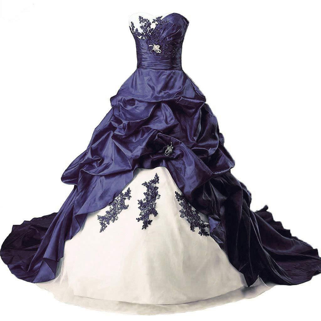 Ivory & Navy Vantexi Women's Elegant Sweetheart Taffeta Wedding Dress Lace Applique Bride Dresses