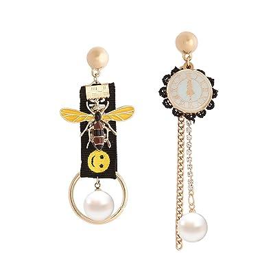 604923a17 Amazon.com: YAZILIND Fashion Jewelry Rhinestone Asymmetry Bee Pendant Stud  Earrings for Women (black): Jewelry
