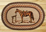 Earth Rugs 65-129H Op-129 Horse Design Rug, 20″ x 30″, Brown/Ivory/Natural