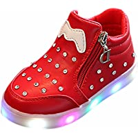 1-6 Years Old Children Kids Girls Zip Crystal LED Light Up Luminous Sneakers Shoes