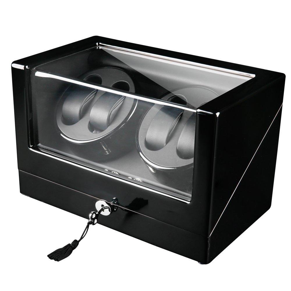 FIRWAY Deluxe 4+0 Watch Winder with 4 Timer Modes Premium Silent Motor Black