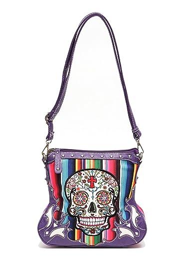 185f1e46e4cf AGP Sugar Skull Cross Flower Messenger Bag Cross Body Hipster Purse Jp  Rainbow (Purple)  Handbags  Amazon.com