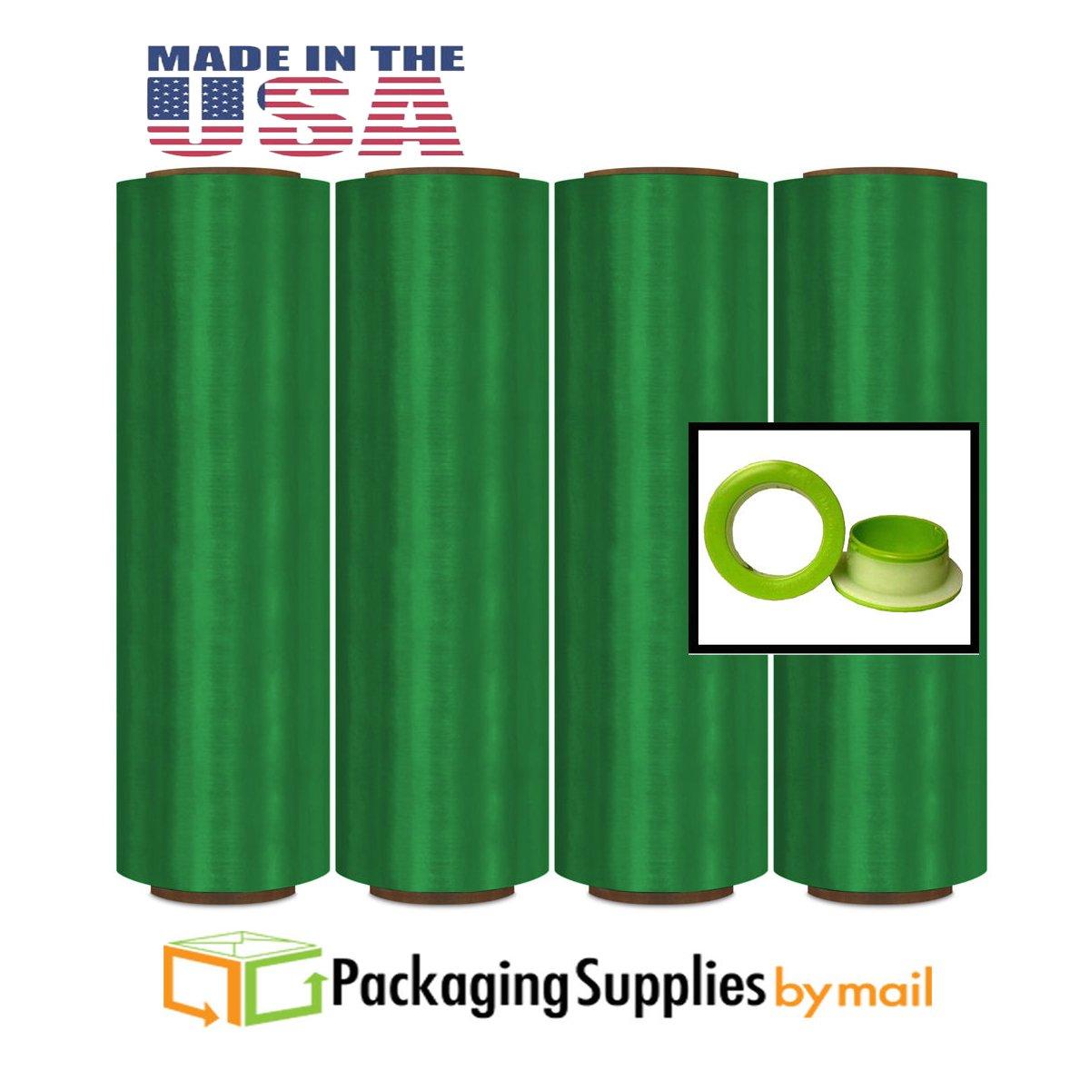 Green Color Stretch Wrap Film Advanced Pre-Stretch w/Folded Edges 17'' x 1476', 8.5 mic 4 Rolls with Dispenser