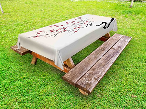 Lunarable Asian Outdoor Tablecloth, Ink Style Blossoms Stylized Upside Down Brush Painting Effect Illustration, Decorative Washable Picnic Table Cloth, 58 X 84 Inches, Coral Black Beige