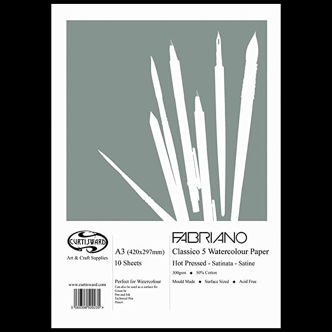 Fabriano 5 watercolour paper sheets 300gsm Hot Press Cold Press 50/% cotton paper