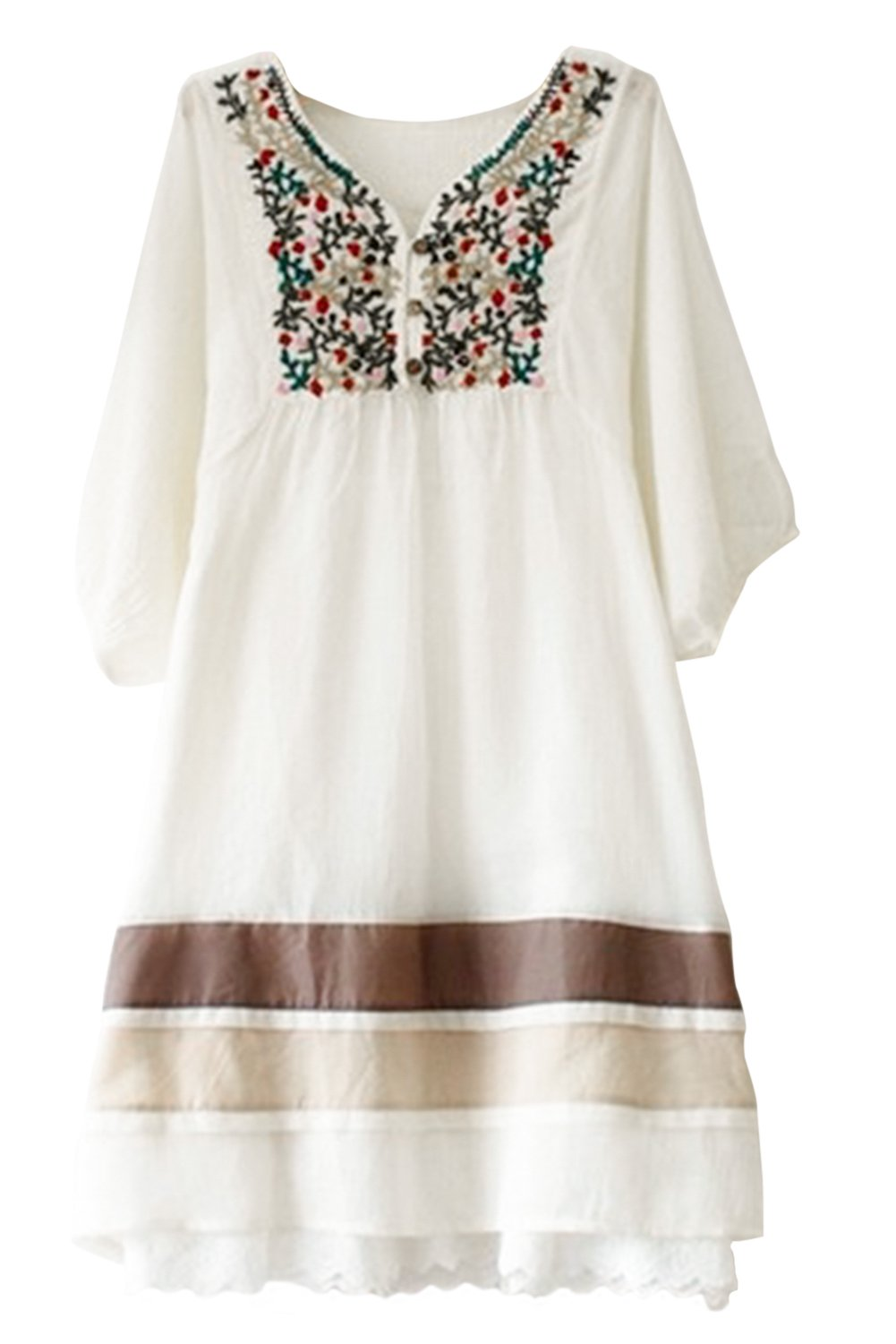 Asher Womens V Neck Mexican Embroidered Peasant Bohemian Dress (One Size, Apricot) by AsherFashion
