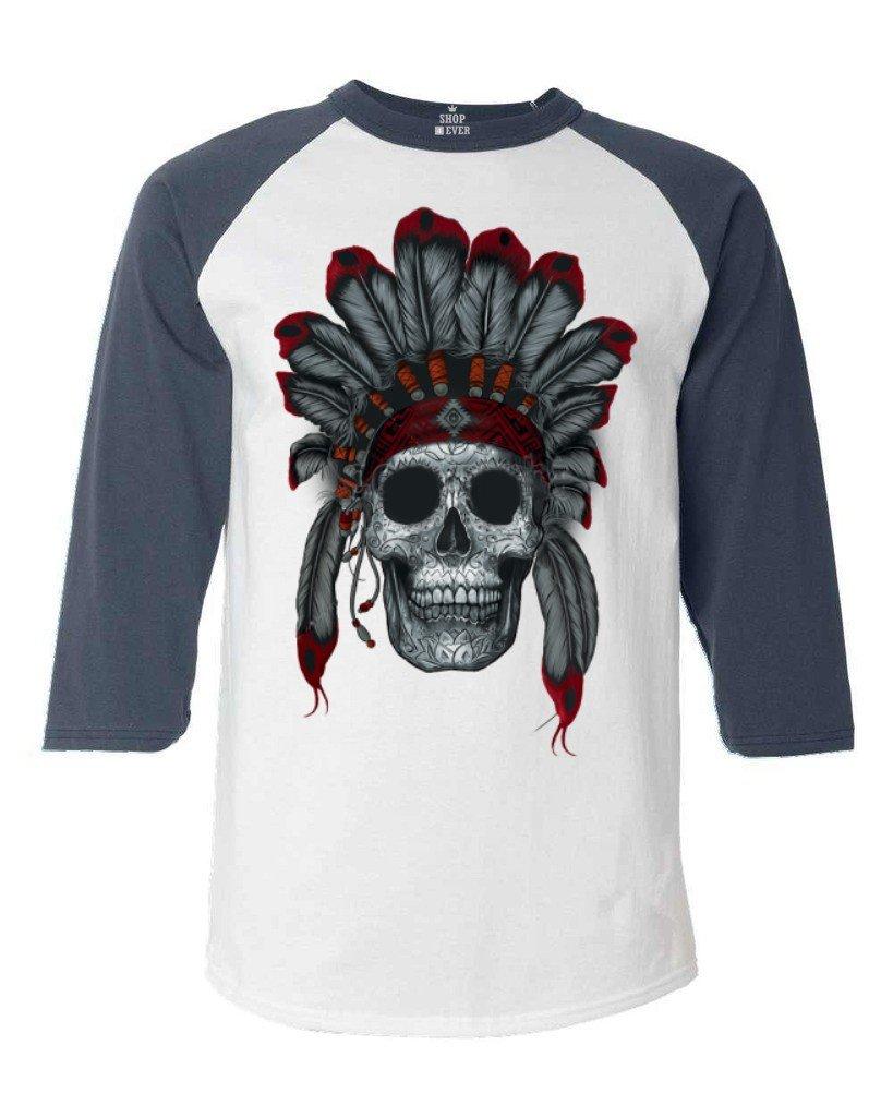 shop4ever ® Chief Headdressスカル野球シャツNative Americanラグランシャツ B01944QFP6 4L ホワイト/ネイビー ホワイト/ネイビー 4L