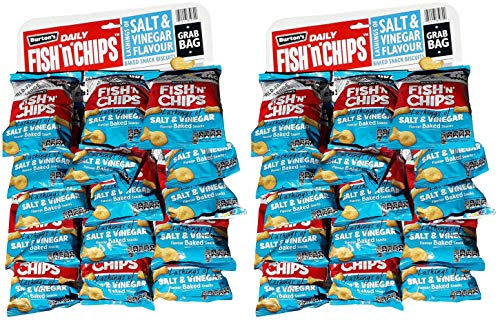 Burton's Daily Fish n Chips Salt Vinegar Flavour Baked Snack Biscuits 40g Pub Card of 15 Packs [Twin Pack] BRITISH FOOD SHOP (BD2X15)