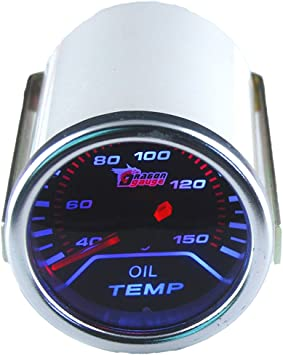 Supmico 52mm Weiß Led Licht Kfz Auto Öltemperatur Anzeige Öl Oil Anzeige Instrument Gauge Meter Rauchfarbe Len Messgerät Auto
