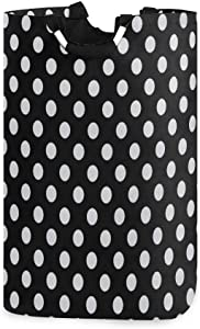 Laundry Basket Black White Polka Dot Large Collapsible Dirty Laundry Hamper Bag Tall Fabric Storage Baskets Rectangle Folding Washing Bin Hand Clothes Organizer for Laundry Room,Dorm 53L