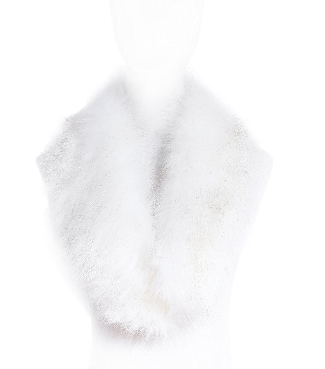 Women's Fake Faux Fur Fashion Warm Shawl Scarf Neck Collar (white)
