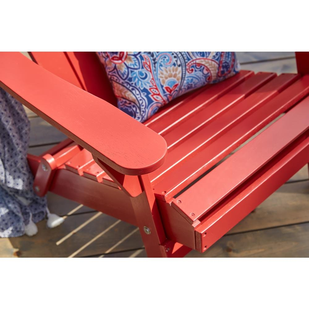 2-Pack Outdoor Folding Adirondack Chair, Hampton Bay, Adirondack Chair, Patio Chair, Wood Outdoor Furniture, Outdoor Chair, Patio Folding Chair (Choose Your Color) (Chili Red) by Hampton Bay Patio (Image #3)