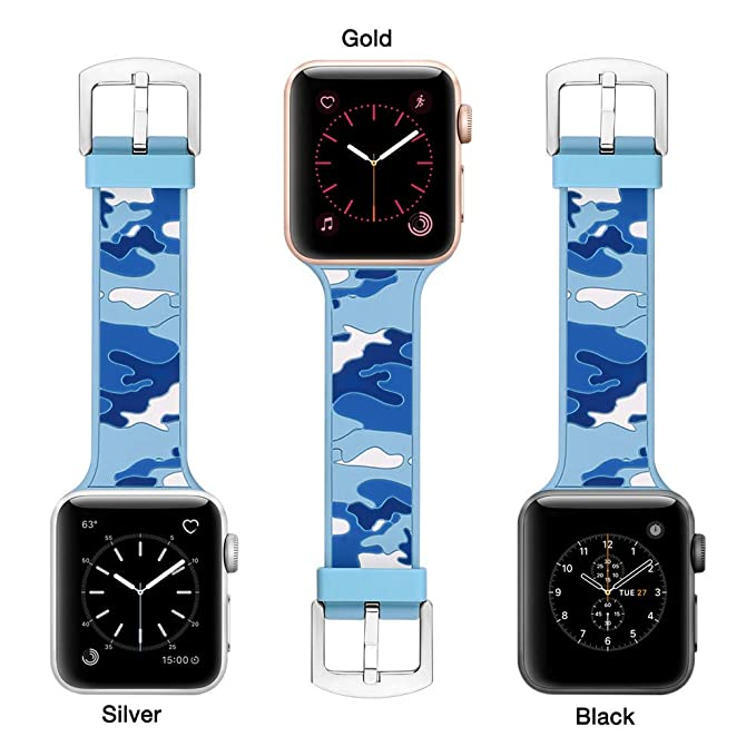 Bandas Reloj para Unisex Camuflaje Brazalete Silicona Pulsera de Manera Wristbands Elegante Strap de Suave Cadena Reemplazo Correa: Amazon.es: Relojes