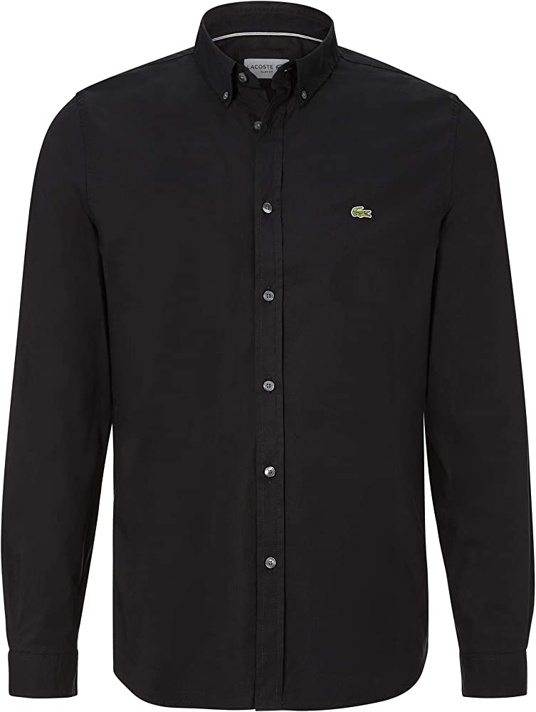 Lacoste CH7221 - Camisa de manga larga para hombre, con botones y corte ajustado Negro (031) 46: Amazon.es: Ropa y accesorios