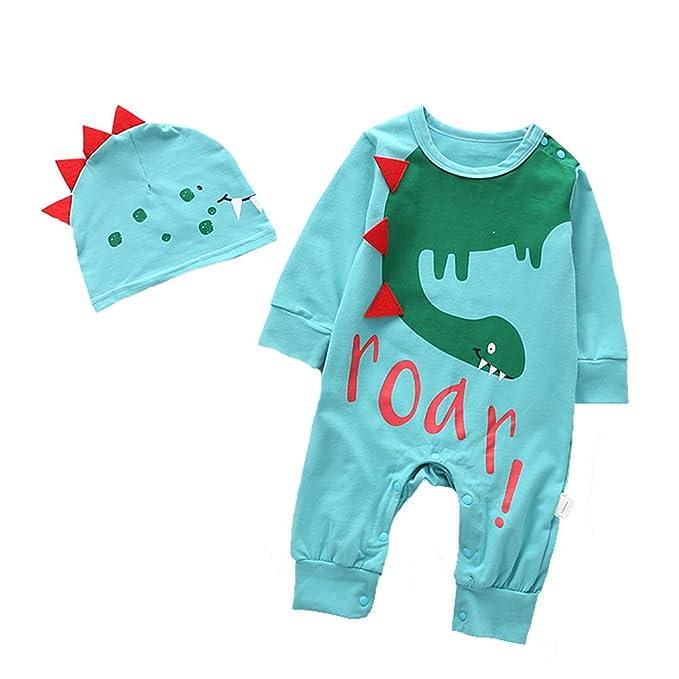 ALLAIBB Bebé Niño Mameluco Pijama Manga Larga con Gorra