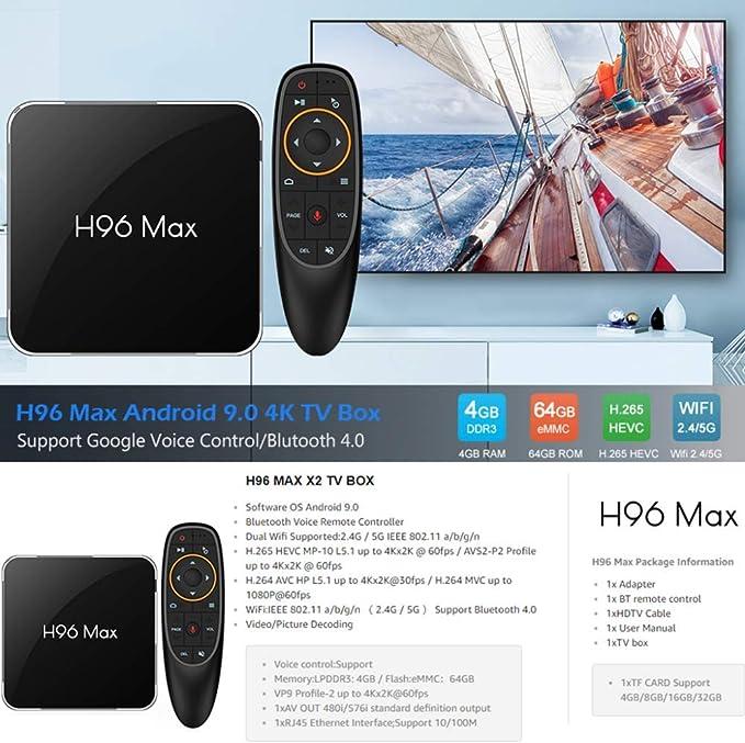 YPSMLYY H96MAX X2 Android 9.0 TV Box H96 MAX 4GB 64GB 4G Android Box con Control Remoto por Voz Compatible con 2.4G / 5G WiFi Smart Android TV Box 4G 64G 4K