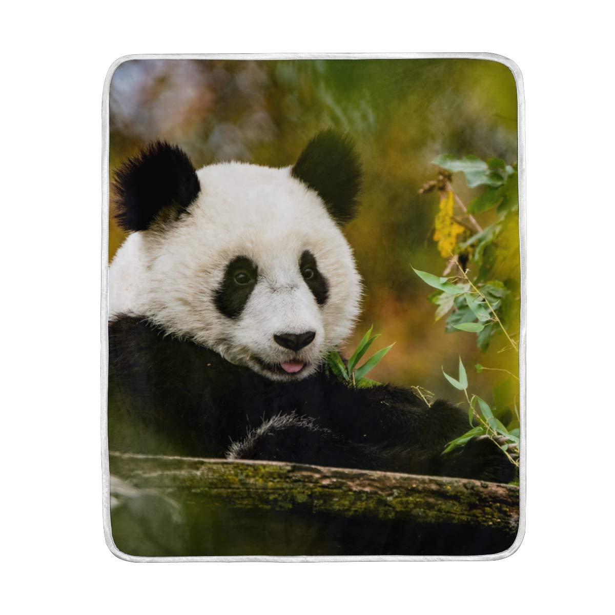 Seasonal Quilt Funny Animal Panda Putting His Tongue Out Crystal Velvet Throw Blanket for Bed 50 x 60 inch Kids Baby Girls Colorful Painting Couch Blanket Throw Decor