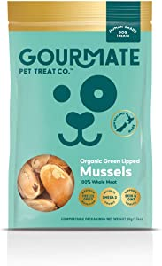 Gourmate Pet Treat Co. Organic Green Lipped Mussels - Human Grade Dog Treats - 100% Natural, Freeze Dried Snack with Omega-3, Glucosamine & Chondroitin for Healthy Coat & Joint Support - 50g/1.76oz