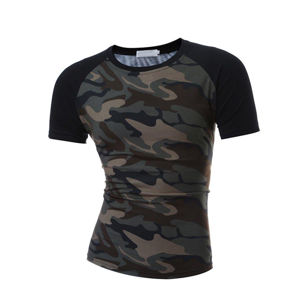 Winsummer Men's T Shirts,Men Casual Slim Fit T-Shirt Raglan Short Sleeve Cotton Tee Shirt Camouflage