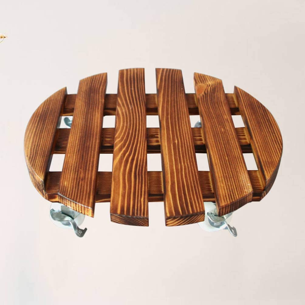 Yardwe Wood Plant Caddy Flower Pot Stand with Wheels Movable Flowerpot Tray Trolley for Indoor Outdoor Decor