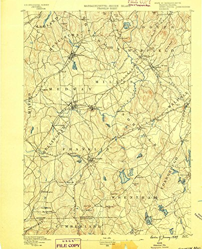 Franklin MA topo map, 1:62500 scale, 15 X 15 Minute, Historical, 1889, 19.5 x 15.8 IN - - Wrentham Map Of Ma