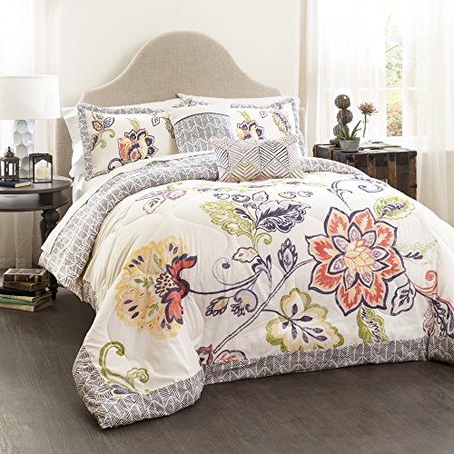 (Lush Decor Aster Comforter Set-Flower Pattern Reversible 5 Piece Bedding-Full Queen-Coral and Navy)