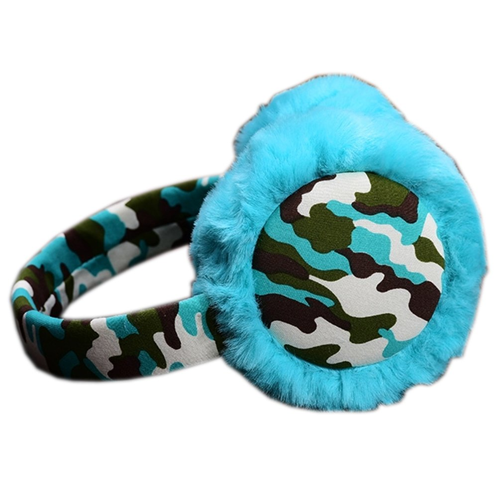 [Teal]Cool Style Fur Ear Warmer Camouflaged Frame Earmuffs Winter Used