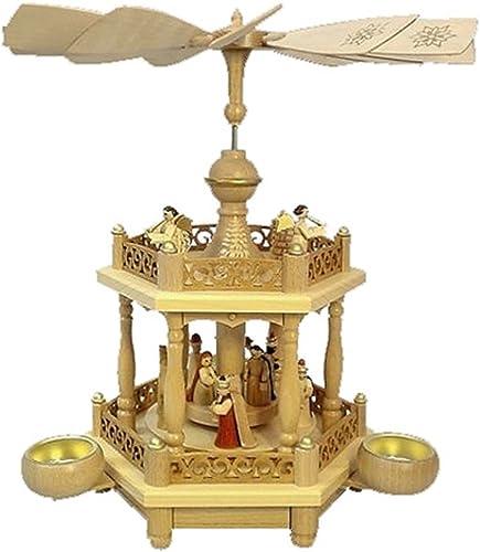 Alexander Taron 16701 Richard Glaesser Pyramid-2 Tiers Nativity Scene and Angel Musicians-13.5 H W x 12.5 , Brown
