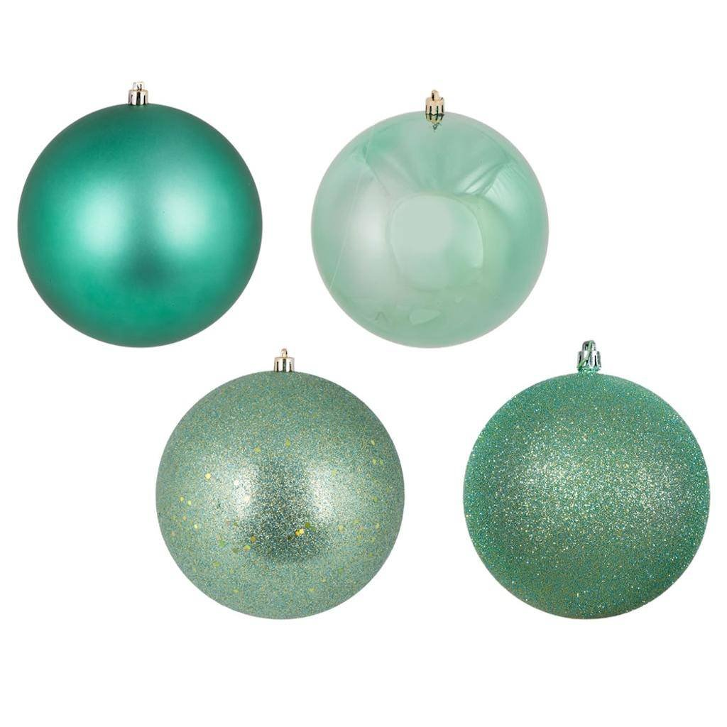 Vickerman 447345-12'' Seafoam 4 Finish Matte/Shiny/Sequin/Glitter Ball Christmas Tree Ornament (set of 4) (N593044DA)