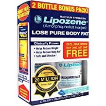 Lipozene - Weight Loss Supplement - Appetite Suppressant and Control - Two Bottles 60 Capsules Total