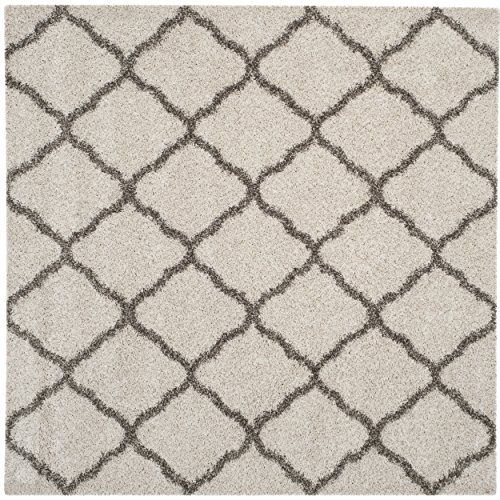 Safavieh Hudson Shag Collection SGH283A Ivory Grey Moroccan Geometric Square Area Rug (7