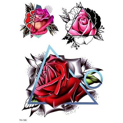 Just Fox - Tatuaje temporal, diseño de rosas triangular, tatuaje ...