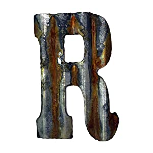 Custom Cut Decor 8'' Rusty Galvanized Corrugated Metal Letter -R