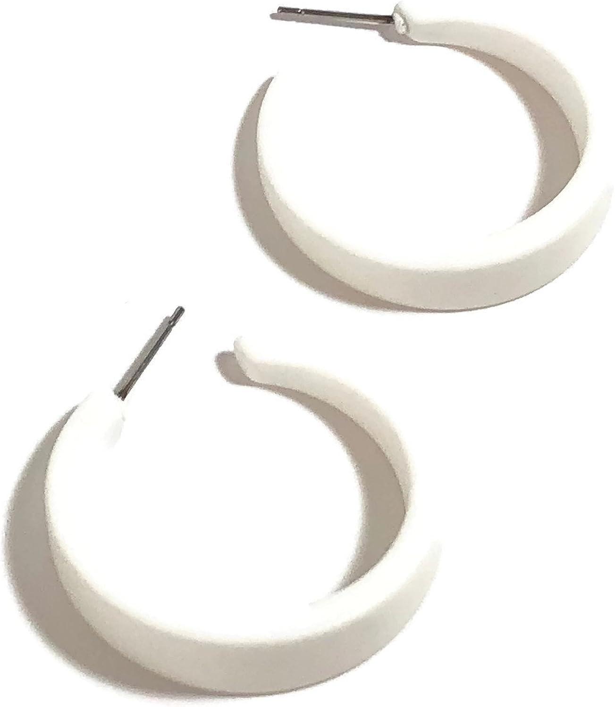 White Hoop Earrings -...