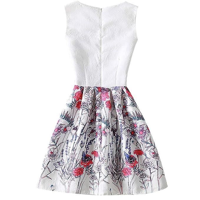 NEEKY Vestidos de Fiesta para Mujer Elegantes - Vestido de Noche Elegante de la Mujer Mariposa Imprimir Casual Vestido sin Mangas de una línea: Amazon.es: ...