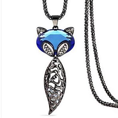 Amazon com: Long Fox Long Necklace 1688-blue Crystal - Blue Crystal