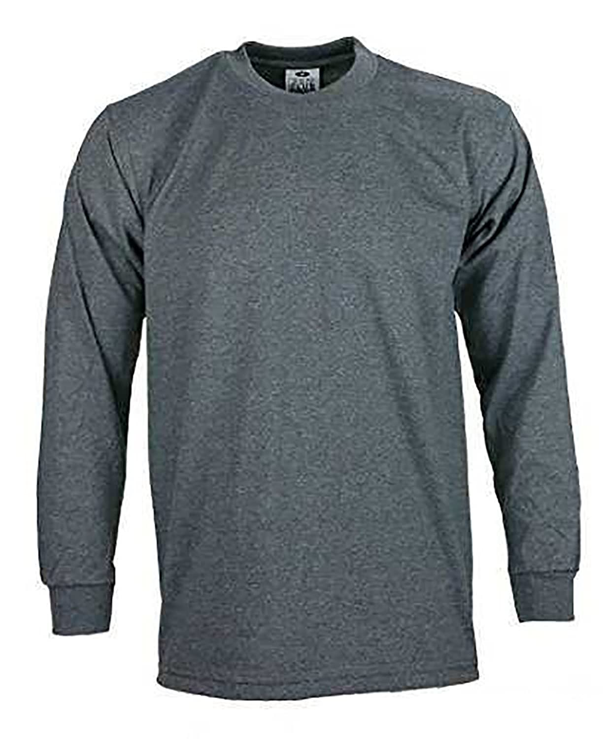 Pack of -2- Men's proclub Heavy Weight solid crewneck long sleeve shirts Charcoal