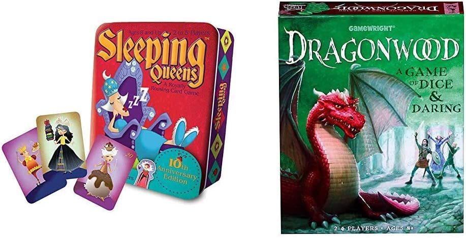 Gamewright Sleeping Queens 10th Anniversary Tin Card Game & Dragonwood A Game of Dice & Daring Board Game