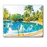 Mouse Pad Unique Custom Printed Mousepad House Decor Umbrella And Chair Around The Round Outdoor Pool Tourist Space Famous Spots Concept Green Blue Cream Stitched Edge Non Slip Rubber