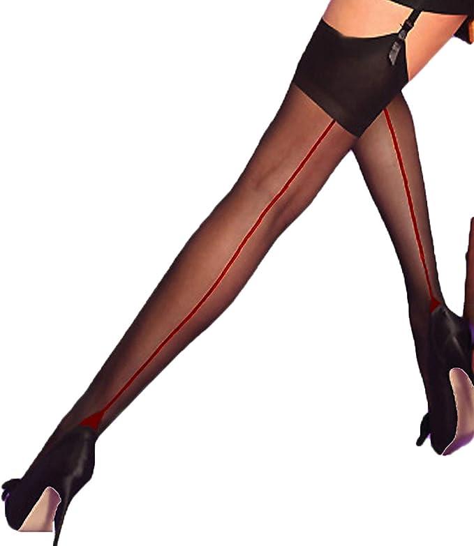 Yummy Bee - Transparent Suspender Stockings - Nylon Stockings for Garter Belt - Back Seams - Silky Size 36-46 - black/red, size: m: Amazon.de: Bekleidung