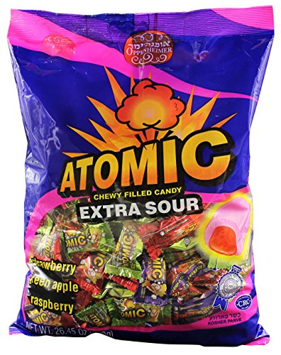 Atomic Extra Sour Chewy Cream Filled Kosher Candy (Large) - 26.45 oz (750 (Razzles Sour Candy)