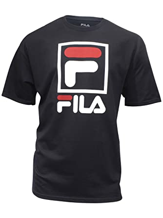 830dd08a Fila Men's Stacked Tee Shirt, Black/White/Chinese Red, Small