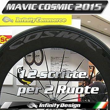 Ciclos ferrareis 12 Decals Pegatinas Cosmic Ruedas Bicicleta Kit Completo para 2 Círculos Mavic: Amazon.es: Deportes y aire libre