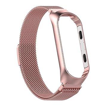 Bearbelly | Compatible con Xiaomi Mi Band 4 Correa de Repuesto, Reloj Inteligente Mujer Hombre Metalizado Metal Pulsera Deportiva Cerradura magnética ...
