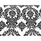 LA Linen™ Flocked Damask Taffeta Fabric By The Yard, 58-Inch Wide, Black On White.