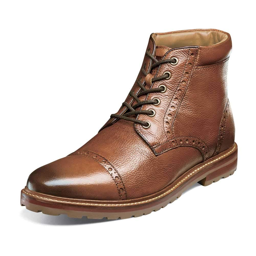 Florsheim Men's Estabrook Cap Toe botas Cognac Milled 9 EEE US -