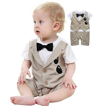 aaf68485b7613 Cuteshower 子供服 キッズ フォーマル 男の子 ベビー カバーオール ロンパース 半袖 新生児 幼児 結婚式 七五三 ブラウン