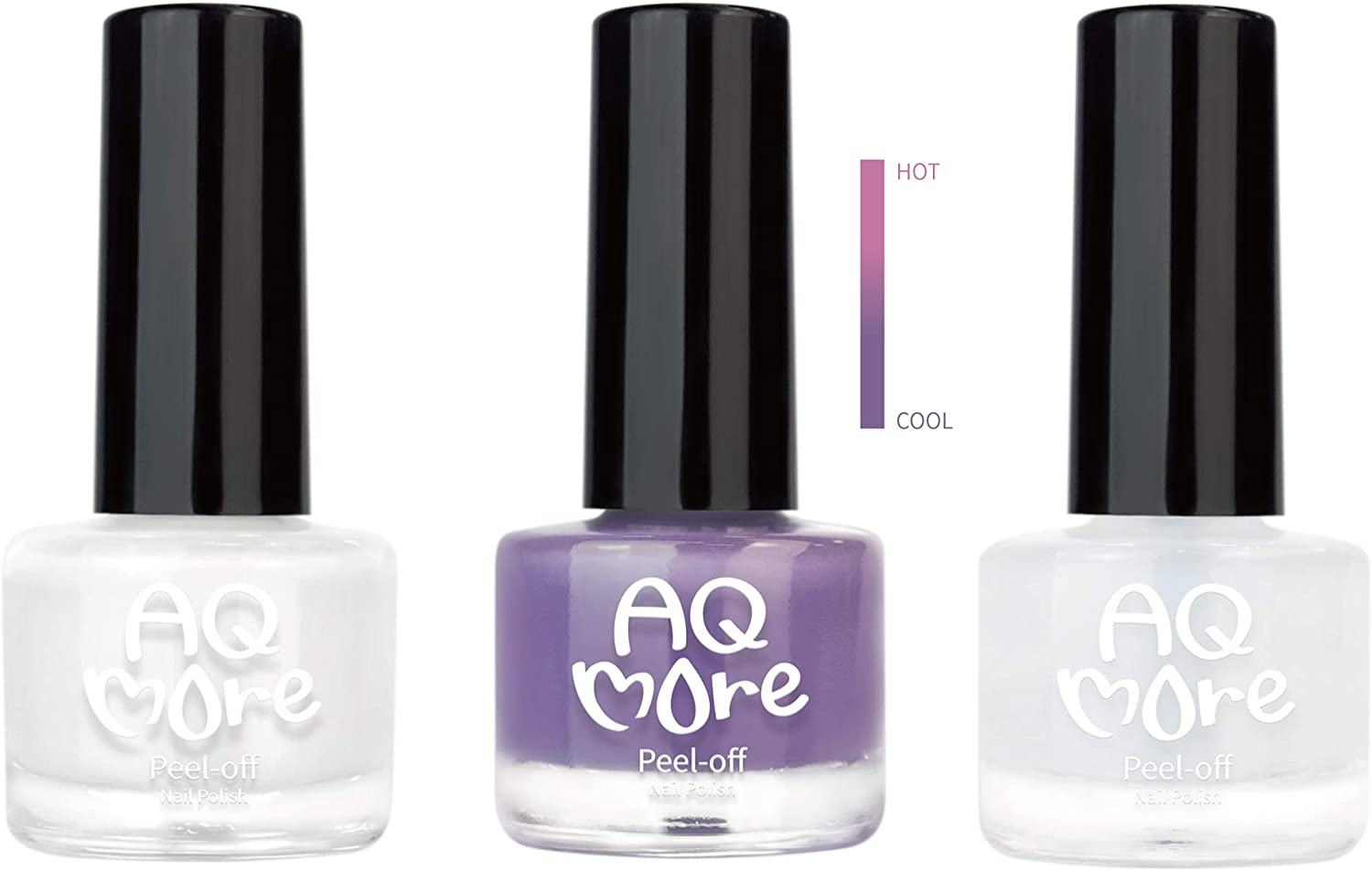 AQMORE Non Toxic Water Based Peel Off Nail Polish - Stays on for Days, Gel-like Shine, Dries in Minutes, Fragrance & Paraben Free, Kid Safe, 2 colors with Top Coat (0.20 fl oz/Bottle) - Magical Heart