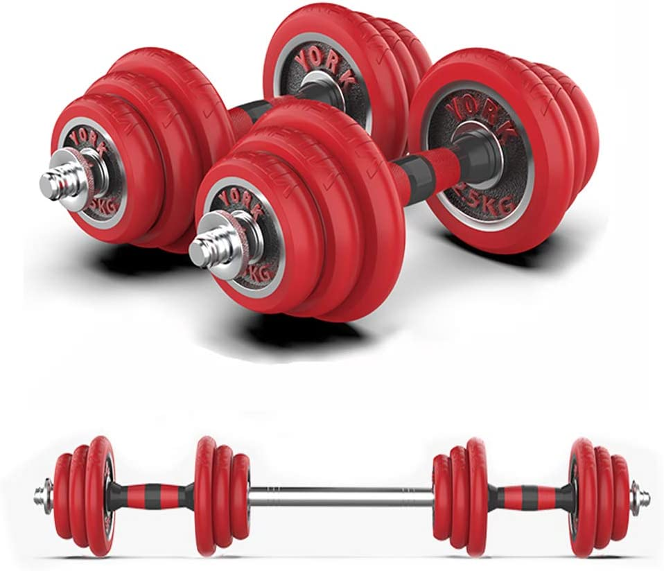 JHVW Cast Iron Adjustable Dumbbell&Barbell Weight Pair,Free Weights 2 in 1 Set,Non-Slip Handle,Perfect for Home, Gym, Office Exercise Training