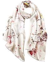 STORY OF SHANGHAI Women's 100% Silk Scarf Luxury Satin Graphic Painted Shawl Wraps